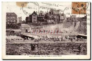 Old Postcard Ault On The Beach A Maree Basse