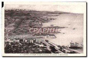 Old Postcard Cote d & # 39Azur a theft & # 39Oiseau of Nice Menton
