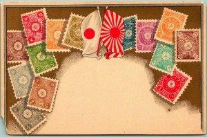 Vintage 1910s JAPAN Postcard STAMPS Philatelic w/ Japanese & Rising Sun Flags