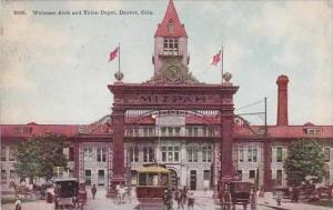Colorado Denver Welcome Arch And To Union Depot