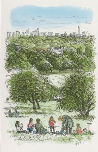 Picnic At Primrose Hill London Regents Park Painting Postcard