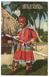 Seminole Indian, Medicine Man at Musa Isle Indian Village, Miami, Florida