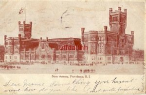 pre-1907 NEW ARMORY, PROVIDENCE, RI 1906 not quite finished Embossed