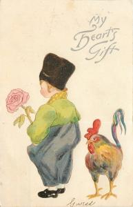 Heart's Gift~Russian Hat Boy~Pink Rose~Colorful Rooster~Emboss~Germany~1908