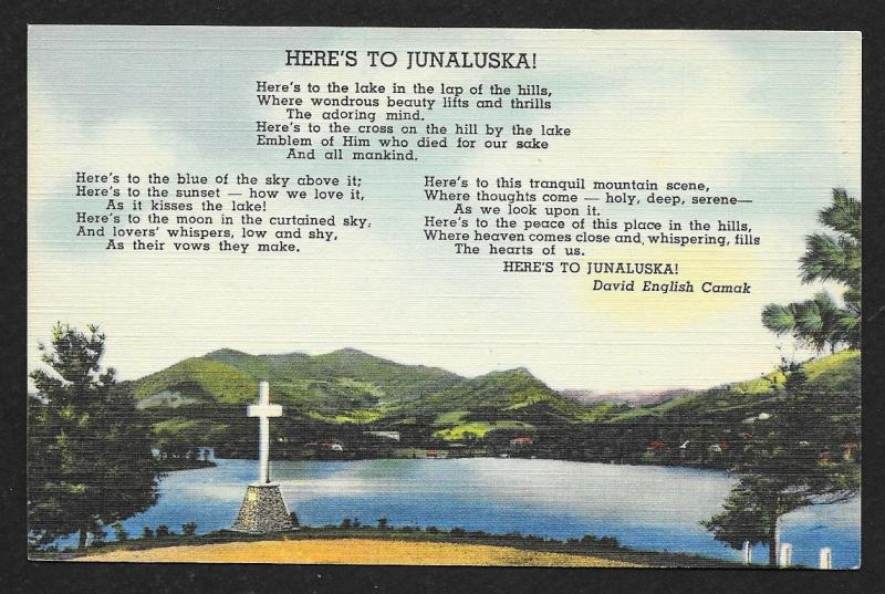 'Heres To Junaluska' Poem Hendersonville North Carolina Unused c1930s