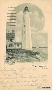 1903 New London Connecticut Lighthouse undivided postcard 5233