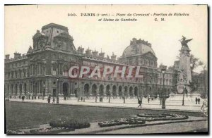 Old Postcard Paris I stopped up the Richelieu Pavilion carousel and Statue of...