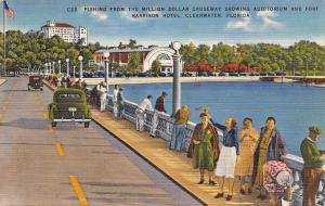 Clearwater Florida~Old Ladies Fishing From Million Dollar Causeway~1946 Linen PC