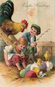 EASTER, 1900-10s; Rooster & children watching hatching chicks, PFB 6800