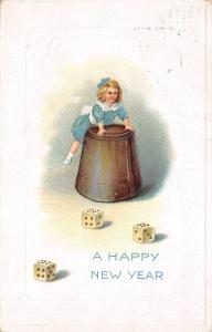 New Year~Miniature Victorian Girl on Large Shaker Cup~Roll of Dice~Boxcars~Sixes