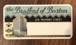 Vintage Hotel Name Address Label THE BRADFORD Hotel OF BOSTON MA