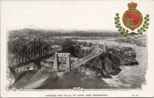 Bridge & Falls St. John New Brunswick NB Patriotic Pense Unused Postcard G18