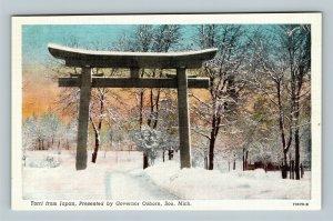 Soo MI, Torii, Traditional Japanese Gate, Entrance, Linen Michigan Postcard