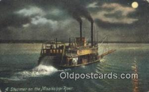 A Steamer On The Mississippi River, USA  Steam Ship Postcard Post Cards  A St...