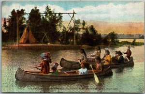 1910s Petoskey, Michigan Postcard Gathering of the Tribes Hiawatha Play Canoe