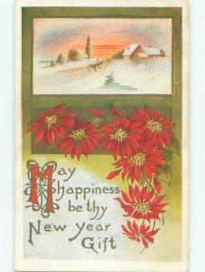 Divided-Back NEW YEAR SCENE Great Postcard AA2156