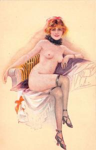 Artist Meunier Beautiful Nude Woman Lounging Postcard