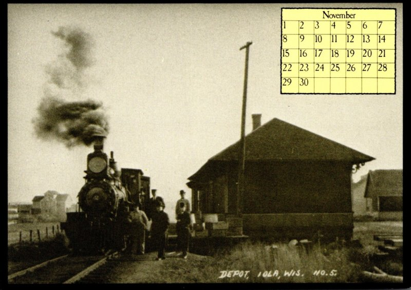 1987 Calendar Series November Train At Iola Depot Wisconsin
