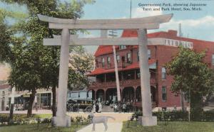 SOO, Michigan, 1900-1910s; Government Park, Showing Japanese Torri & Park Hotel
