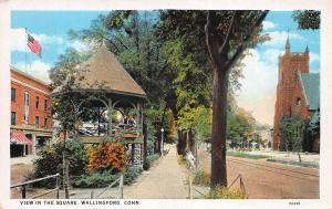 View In The Square, Wallingford, Connecticut, Early Postcard, Unused