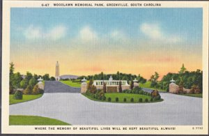 Greenville SC - Entrance to WOODLAWN MEMORIAL PARK 1930/40s