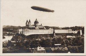 Zeppelin over Melk Austria c1920's w/ Osterreich Stamp Postcard E81