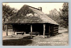 RPPC of Schoenbrunn Village OH-Ohio, Schebosch Cabin, Postcard