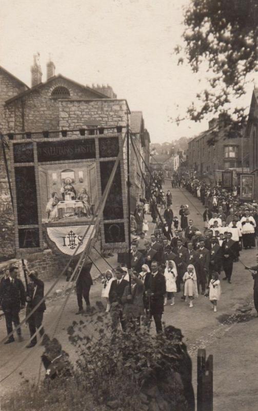 Religious Procession Crucifix March Communion Float Display Antique RPC Postcard