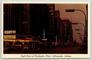 Indianapolis~Washington Street Neon Night Lights~Indiana Theatre Marquee~1960