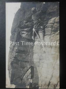 Cumbria LAKE DISTRICT - ROPED ROCK CLIMBE Wonderful Close Up Image c1905 RP