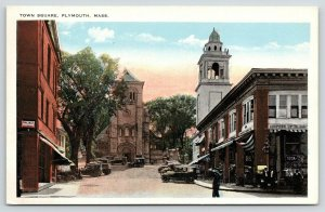 Plymouth MA~Town Square~Cooper's Up to Now Drug Store~Ice Cream~Policeman~1920s
