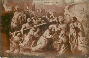 Early biblical scene photo postcard the way of the cross