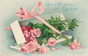 Easter Greetings - Good Wishes - Box of Roses - a/s Clapsaddle - DB