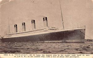 Titanic Ship Post Card Old Vintage Antique Sunk April 15th 1912 Unused