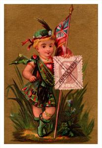 Angleterre   Stamp, Flag, Girl   Victorian Philatelic Trade Card