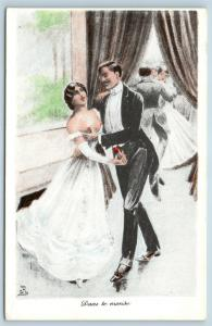 Postcard French Risque Man Woman Nude Action Cartoon Love While Dancing Q16