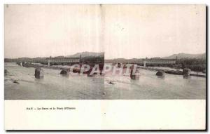 Stereoscopic Card - Pau - Gave Oloron and the Bridge - Old Postcard