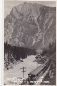 RP, MT. FIELD, B.C., Canada, 1920-1940s; Train On Railroad Tracks, Mt. Field And