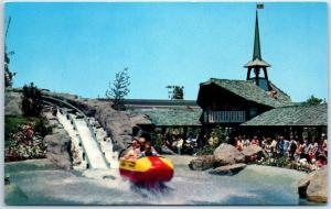 DISNEYLAND California Postcard BOBSLED RIDE Swiss Chalet c1960s Unused