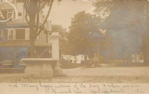Walpole NH The Fountain Closeup~Big Home w/Mansard Roof, Dormers~RPPC 1907 UDB