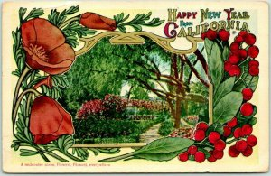 California Greetings Postcard HAPPY NEW YEAR Poppies Garden Scene 1913 Cancel