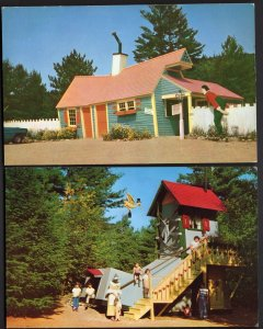 32420) (2) NH STORY LAND Crooked Man He Had a Crooked House Old Woman - Chrome