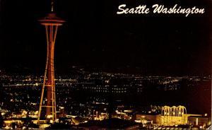 Washington Seattle Skyline and Space Needle At Night