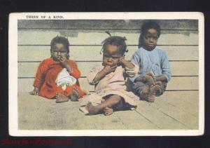 VINTAGE BLACK AMERICANA POSTCARD NEGRO CHILDREN THREE OF A