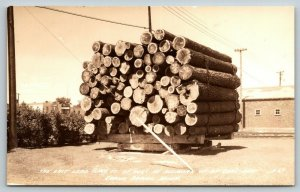 Grand Rapids Minnesota~Load of Logs Memory By-Gone Days~RR Tracks~1930s RPPC