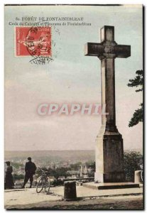 forest of Fontainebleau Old Postcard Cross of Calvary and panorame