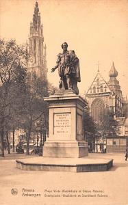 Anvers Belgium, Belgique, Belgie, Belgien Place Verte, Cathedral et Statue Ru...