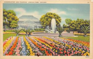 Chicago Illinois~Lincoln Park Conservatory-Fountain-Flower Bed-Greenhouse~1940s