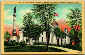 Montgomery, Alabama Postcard State Capitol Confederate Soldier's Monument Linen
