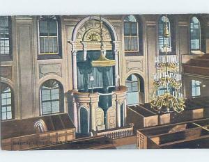 Unused Divided-Back SOUTH CHURCH INTERIOR Boston Massachusetts MA A8529